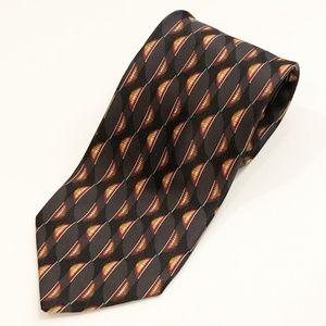 Valentino Silk Printed Neck Tie Black Orange Red